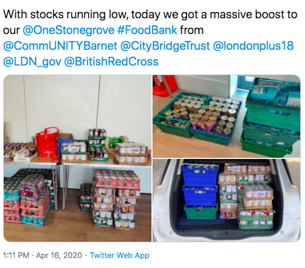 Tweet from OneStonegrove thanking London Plus, CommUNITY Barnet, City Bridge Trust, the GLA and the British Red Cross for coordinating the emergency food delivery to several boroughs across London
