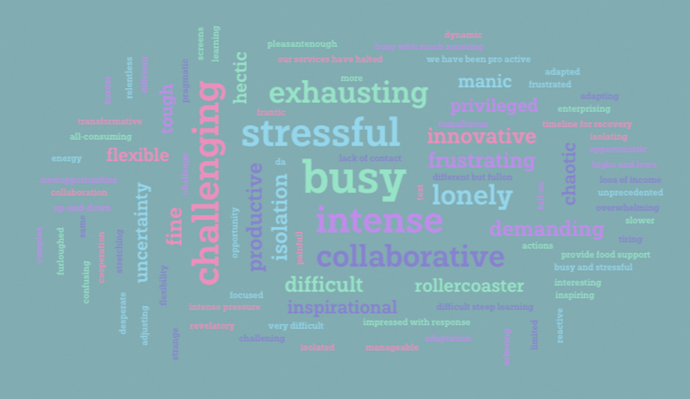We asked the participants of our webinar to describe working during the pandemic in one word