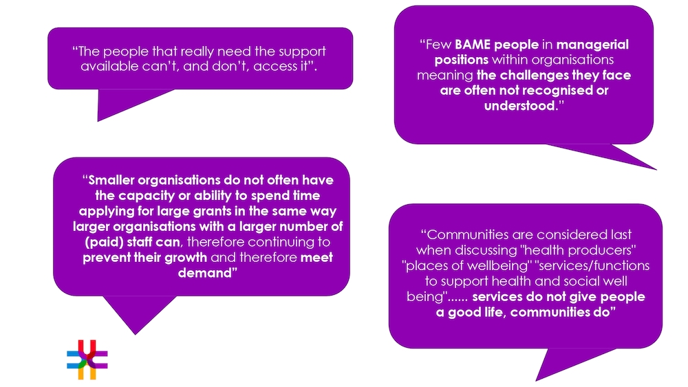 Participants comments regarding current inequalities within social prescribing