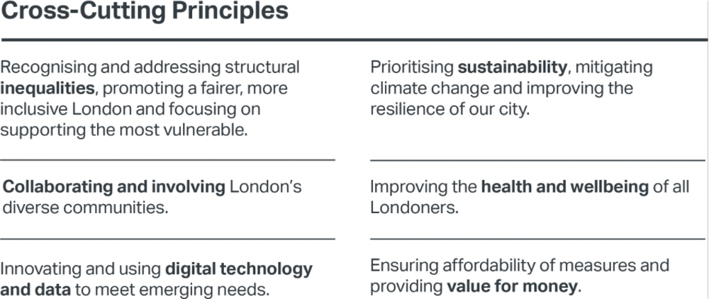 The missions are shaped by 3 key dimensions one of which is, cross-cutting principles