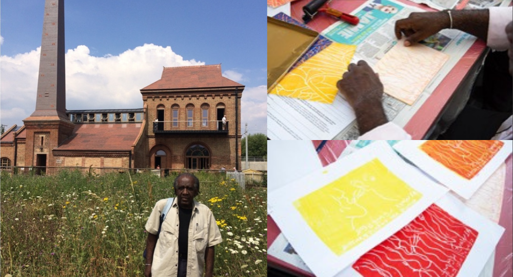 Lloyd in a field (left), his art using primary colours of red yellow and orange on the right.